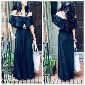 Dresses & Skirts - LAYERED OFF THE SHOULDER MAXI DRESS W/POCKETS